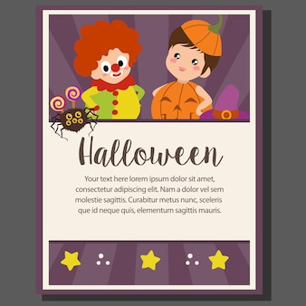 Affiche de thème halloween heureux avec des enfants de clown