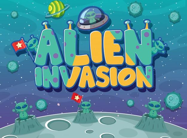 Affiche avec thème d'invasion extraterrestre