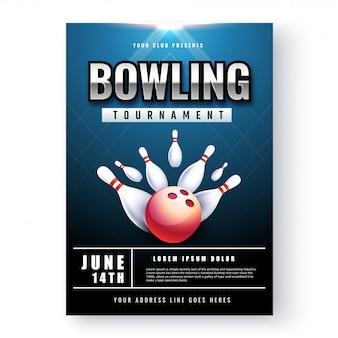 Affiche de tournoi de bowling ou conception de flyer