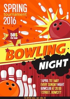 Affiche de tournoi de bowling