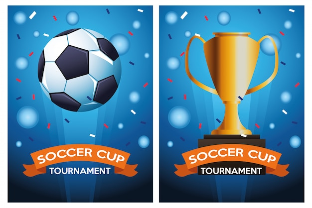 Affiche de tournoi de coupe de football avec ballon et trophée vector illustration design