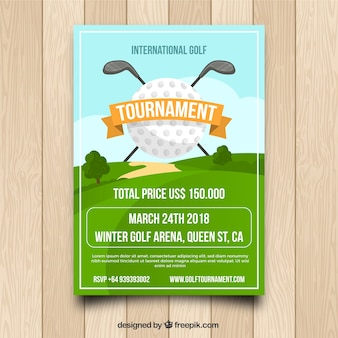 Affiche de tournoi de golf au design plat
