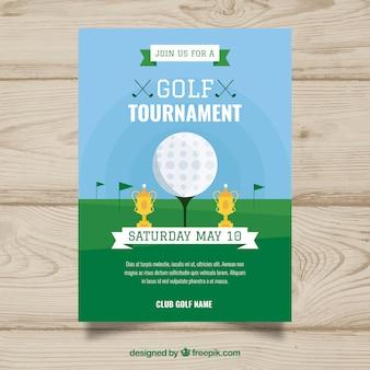 Affiche de tournoi de golf dans le style plat