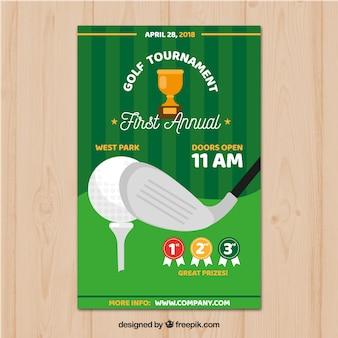 Affiche de tournoi de golf plat