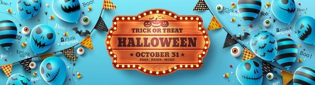 Affiche de tours ou de friandises joyeux halloween avec des ballons fantômes halloween