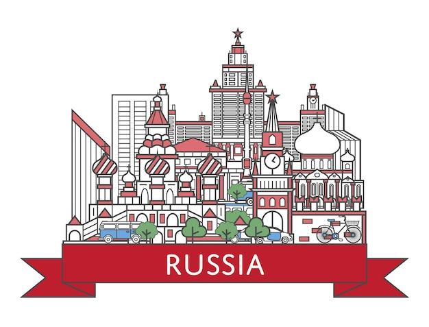 Affiche travel russia en style linéaire