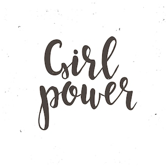 Affiche de typographie dessinée girl power hand
