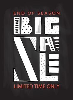 Affiche de typographie dessinée à la main bannière de grande vente sur fond coloré fond de vente grande vente