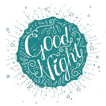 Affiche de typographie doodle avec lune et étoiles.
