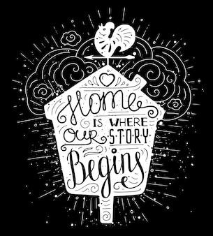 Affiche de typographie de doodle avec nichoir