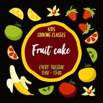 Affiche de typographie de gâteau aux fruits avec les ingrédients autour de la base du gâteau