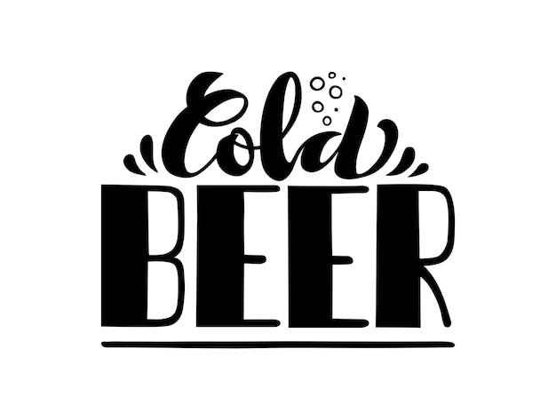 Affiche de typographie de lettrage de bière froide célébration pour le logo ou l'insigne d'icône d'événement de carte postale de carte