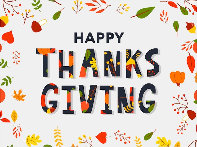 Affiche de typographie de lettrage happy thanksgiving dessinés à la main. citation de célébration pour carte, carte postale, logo d'icône d'événement ou badge. calligraphie automne vintage de vecteur. lettrage gris avec des feuilles d'érable rouges