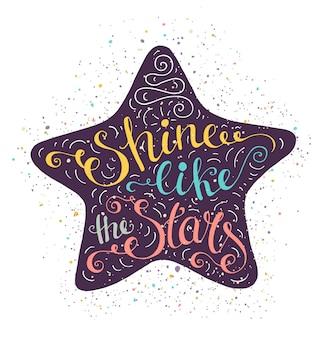 Affiche de typographie lumineuse doodle avec étoile.