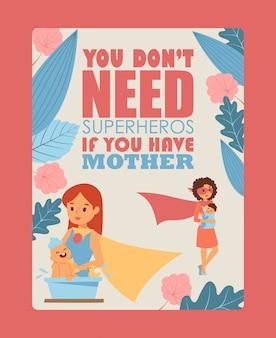 Affiche de typographie mère et enfant