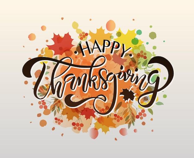 Affiche de typographie de thanksgiving dessinés à la main citation de célébration fond texturé happy thanksgiving