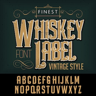 Affiche de typographie de whisky la plus raffinée avec décoration sur illustration noire