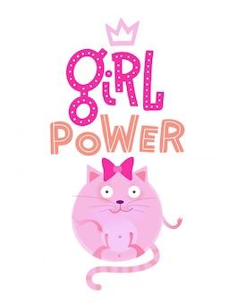 Affiche unique pour enfant de crèche avec un chat rond dessiné à la main avec un arc avec des lettres coupées, citation dinspiration 'fille - puissance'