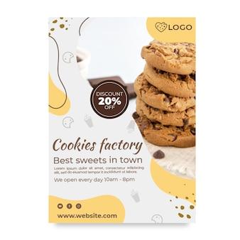 Affiche d'usine de cookies avec remise