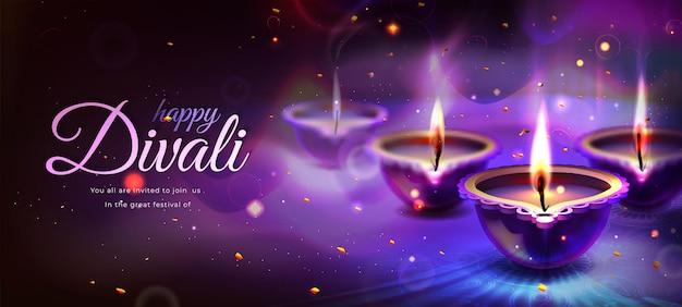Affiche de vacances diwali avec des bougies diya incandescentes