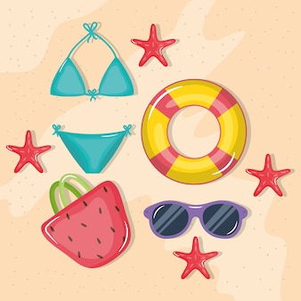 Affiche de vacances d'été avec bikini et icônes