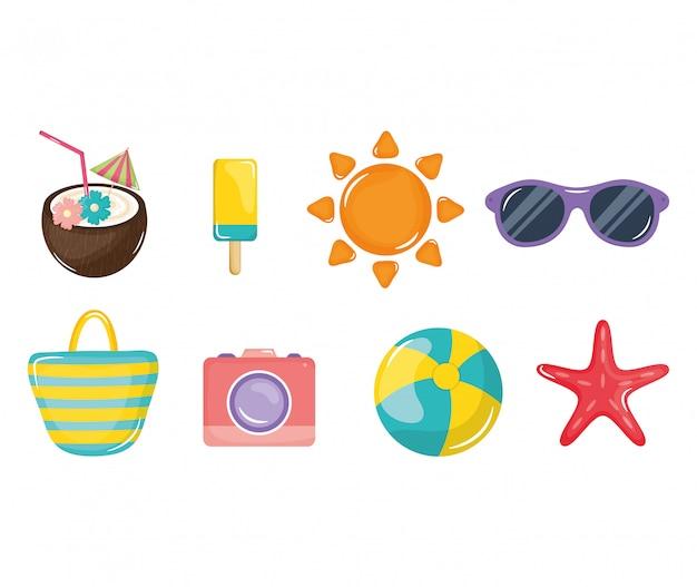 Affiche de vacances d'été définie des icônes