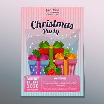 Affiche de vacances fête de fête de noël ou modèle de flyer avec les coffrets cadeaux