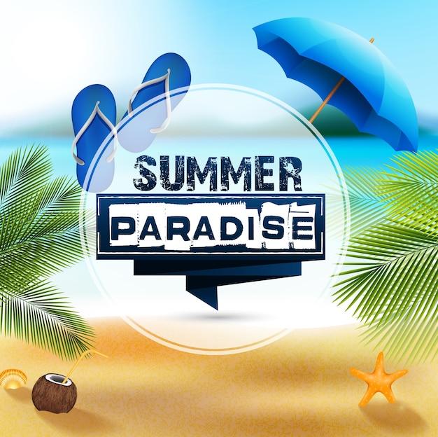 Affiche de vacances summer paradise avec vue sur la plage d'été