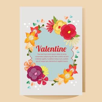 Affiche valentine avec thème floral plat