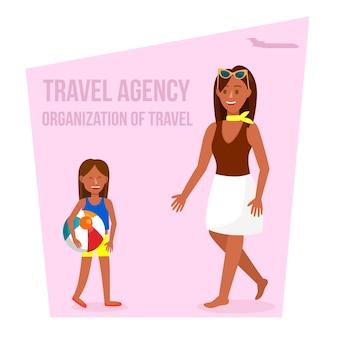 Affiche de vecteur agence de voyage avec fond rose.
