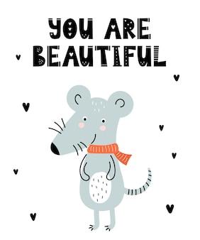 Affiche de vecteur avec un animal mignon de dessin animé pour les enfants et un slogan drôle dans un style scandinave