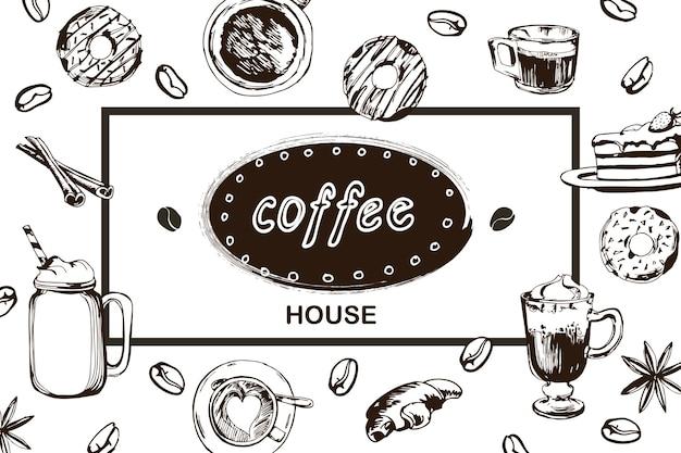 Affiche de vecteur de café dans le style de croquis éléments de conception dessinés à la main modèle vectoriel eps