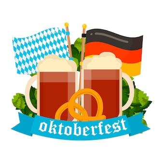 Affiche de vecteur de célébration de l'oktoberfest. texte vectoriel de l'oktoberfest. bière oktoberfest festival allemand fût de bière, bière en bouteille. bannières festives de l'oktoberfest, en-têtes avec bière, wurst, drapeau et bretzel.