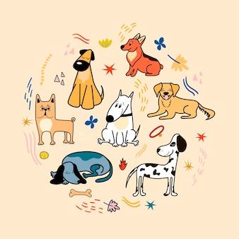 Affiche de vecteur avec des chiens mignons de différentes races corgi bulldog dalmatien teckel bull terrier