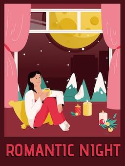 Affiche de vecteur du concept de nuit romantique