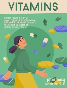Affiche de vecteur de magasin de médicaments de nutrition régime de soins de santé de concept de vitamines