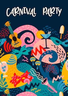 Affiche de vecteur avec des objets de carnaval et des formes abstraites.