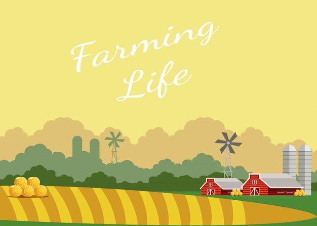 Affiche de vecteur plat vie vie agricole avec lettrage