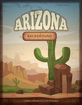 Affiche de vecteur rétro voyage arizona