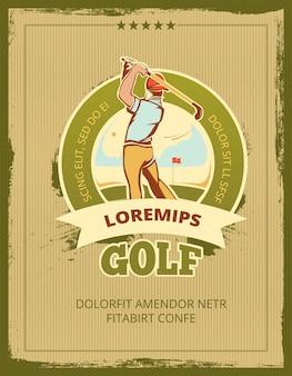 Affiche de vecteur de tournoi de golf vintage