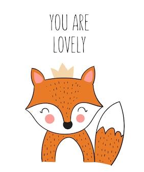 Affiche vectorielle avec un animal mignon dessiné à la main et un slogan. bannière avec objet adorable sur fond. saint valentin, anniversaire, réservez la date, baby shower, mariée, anniversaire, décoration