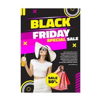 Affiche De Vendredi Noir Modèle Féminin Vecteur gratuit