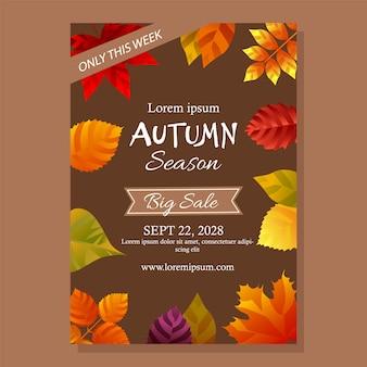 Affiche de vente d'automne avec des feuilles
