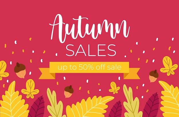 Affiche de vente d'automne avec lettrage et cadre de ruban dans la conception d'illustration rose