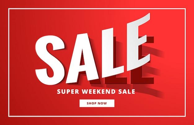 Affiche de vente backgorund en rouge avec le style de l'autocollant