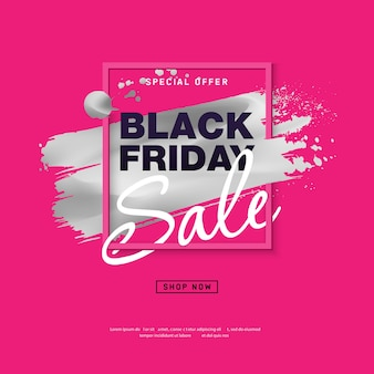 Affiche de vente black friday avec coup de pinceau argenté