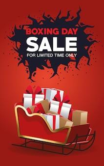 Affiche de vente de boxe avec traîneau du père noël et cadeaux vector illustration design