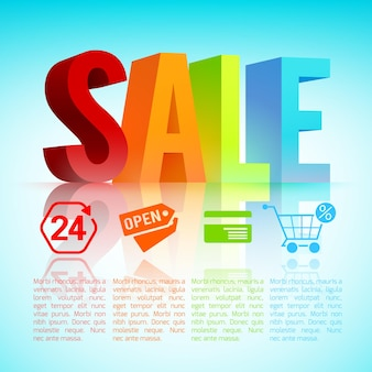 Affiche de vente colorée avec les grandes lettres créant le mot vente avec de nombreuses couleurs et de nombreux dessins animés