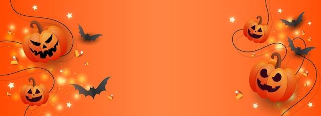 Affiche de vente créative célébration d'halloween vue de dessus citrouilles bonbons