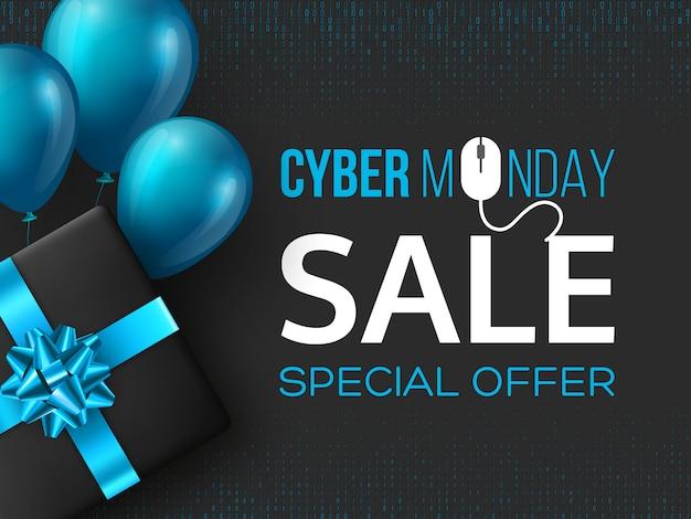 Affiche de vente cyber lundi ou une bannière.